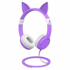 iClever Kids Headphones - Cat-Inspired Wired On-Ear Headphones for Kids, 85dB Vo