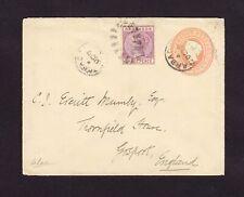BARBADOS: 1898 USED Uprated 1p PSE 2/3p to ENGLAND