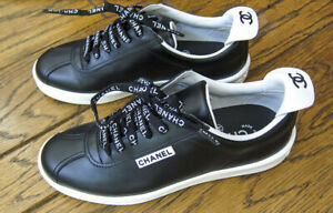 Authentic new CHANEL Womens shoe Black Leather Low Top Lace Up Sneakers Sz 35.5