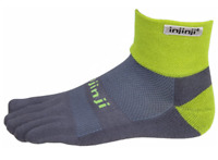 injinji Trail Midweight Mini-Crew Xtralife Socks, X-Large, Wild Lime