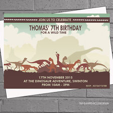 Birthday Party Invitations x 12 Personalised Dinosaur with free envelopes H0806