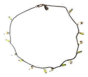 "Sterling Silver Silpada N1373 Green Peridot Pearl Necklace 16.5"""