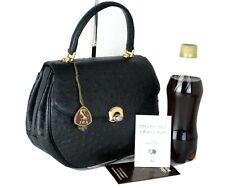 Genuine  Ostrich Black Leather Hand Bag Accessories Bag Purse Good Condition