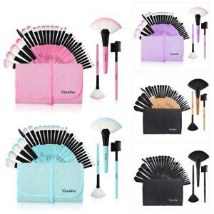 32 Pcs Professional Wood Eyeliner Lash Blusher Flat Cosmetic Makeup Brushes Set