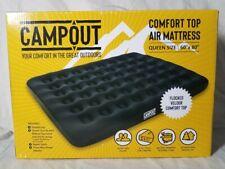 Campout Comfort Top Queen Size Air Mattress Flocked Velour w/ Pump 60 X 80 New