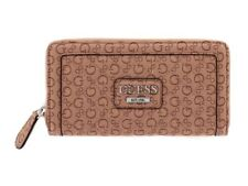 Guess Nut Brown Quilted Sig. Logo Zip Around Wallet Purse GLOBES SLG Silver Logo