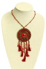 "Glitzy Glass Crystal Artisan Beads 24"" Ne201 Red Ruby Dream Catcher Necklace"