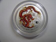 """Australien , 0,5 Dollar 2012 ST, Lunar II  """" Jahr des Drachen """", Silber + Farbe"""