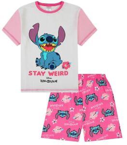 Girls Disney Lilo and Stitch Stay Weird Pink Short Children's Kids Pyjamas Pjs