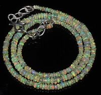 "2to4mm17""+2"" 925 silver chain Genuine Ethiopian Welo Fire Opal beads Necklace"
