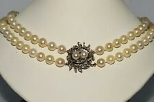 $9,200 7.50MM & .70CT CULTURED PEARLS & DIAMOND NECKLACE 14K WHITE GOLD