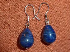 BOUCLES D'OREILLES  LAPIS LAZULI perles goutte 13mmx10mm  monture en argent 925
