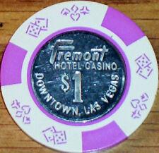 Old $1 FREMONT HOTEL Casino Poker Chip Vintage Antique BJ Mold Las Vegas NV 1989
