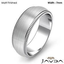Dome Milgrain Edge Ring Men Wedding High Polish Band 7mm Platinum 14.9g 11-11.75