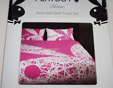 Playboy Bunny Pink White Scribble Double Bed Quilt Cover Set New