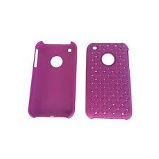 Zirkonia Kunststoffhülle Hülle für iPhone 3 3G 3GS Lila Hardcase Strass Glitzer