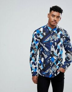 Versace Jeans Blue Geometric Shirt Size S BNWT AUTHENTIC RRP £230