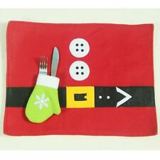Christmas Santa Table Runner Placemats Setting Mat Party Cutlery Holder Decor B