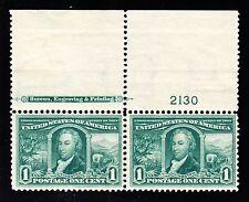US 323 1c Louisiana Purchase Mint Top MI Plate Pair #2130 F-VF OG LH/NH SCV $120