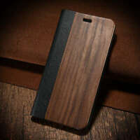 Luxury Natural Wood Bamboo Leather Wallet Case Flip Cover for iPhone 6 6s 7 Plus