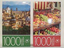 Lot of 2 Cardinal 1000 Piece Jigsaw Puzzles European Roof Line & Fruit Market