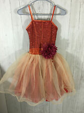 Dance Costume Large Child Autumn Brown Red Sequin Ballet Pointe Solo Competition