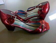 Red Metallic Shoes Size EU 37 UK 5 Leather Quirky Dancing Fabulous VGC