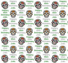 Personalised Gift Wrap Birthday CANDY SUGAR SKULL 18th 21st 40th Any age