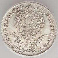 1794-B Holy Roman Empire Franz II 20 Kreuzer ANACS VF30, Kremnitz mint, KM2139