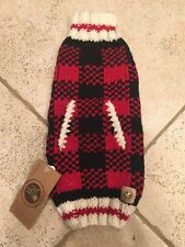Chilly Dog Handmade Buffalo Plaid 100% Organic Wool Dog Sweater Small