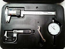 3pc Engineers Measuring Set ~Digital Caliper + Micrometer + Dial Test Indicator