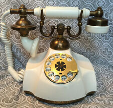 Beautiful Vintage French Style Rotary Telephone 1967 Prop White Gold Brass #32
