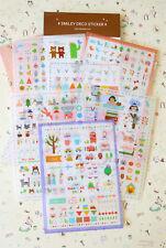 Cute Cartoon deco stickers 6pc snowman cactus love trees planner journal sticker