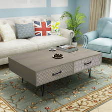 Grey Coffee Table Storage 4 Drawer Retro Living Room Furniture Side Tables Decor