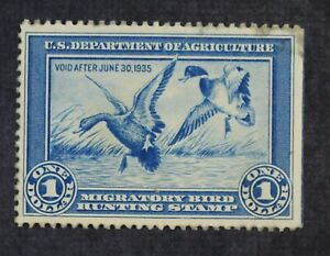 CKStamps: US Federal Duck Stamps Collection Scott#RW1 $1 Mint H OG Thin
