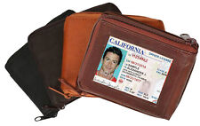 Genuine Leather Men's Bifold Wallet ID Badge Front Pocket Zip Around