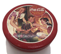 """Vintage 1992 Collectible COCA-COLA Round Small Lidded Fireplace Tin Red 5 1/2"""""""