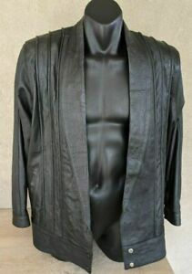 Womens Black Leather Jacket With Vintage Pintuck Style Detail Press Stud Closure