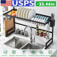 Large Capacity Over Sink Dish Drying Rack Drainer Shelf Stainless Steel Holder
