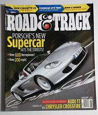 ROAD & TRACK CAR MAGAZINE 2004 JANUARY PORSCHE GT 3 CARRERA SUPER CAR AUDI TT