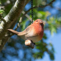 Robin Redbreast On Chestnut Garden Ornament Resin Outdoor Lawn Decoration Gift