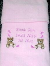 Personalised Baby Blanket, Teddy Footprint Design Pink Newborn Girl