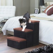 More details for pawhut 3 step pet stairs portable mobility assistance w/ washable cover black