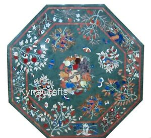 """Octagon Marble Dining Table Top Antique Floral Pattern Sofa Table for Decor 36"""""""