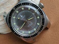Vintage Buren Divers Watch w/HEV Screwdown Crown,Patina,All SS Case FOR REPAIR