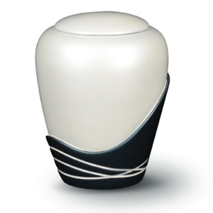 Beautiful Round Glossy Cremation Urn for Ashes Resin  Adult Funeral White&Black