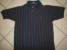 RALPH LAUREN POLO SHIRT Navy Blue Embroidered Horse Logo Red Yellow Pinstripes L