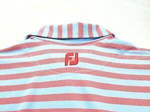FootJoy FJ Athletic Fit Blue Red Stripe Stretch Golf Polo Shirt Medium Mens