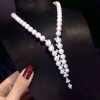 AAA 9-10MM SOUTH SEA NATURAL WHITE PEARL NECKLACE 14K CLASP