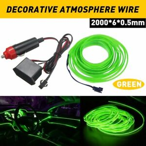LED Car Interior Decorative Atmosphere Wire Strip Light Lamp Accessories Green B